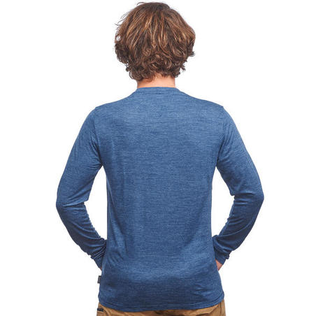 """Vīriešu ceļojumu trekinga merino vilnas T-krekls """"Travel 100"""", zils"""