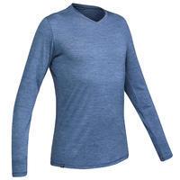 Camiseta Manga Larga Montaña Trekking Lana Merino TRAVEL100 Hombre Azul