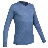 Men's long-sleeved travel trekking Merino wool T-shirt - TRAVEL 100 - blue