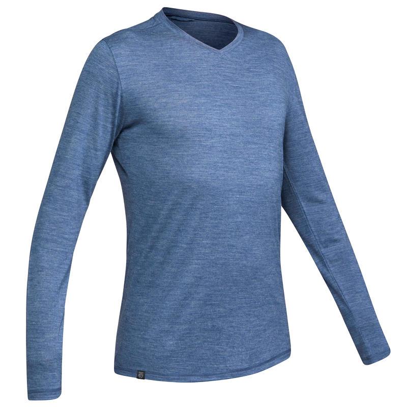 חולצת טי מצמר לגברים עם שרוול ארוך TRAVEL 500 - כחול