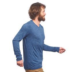 T-shirt laine mérinos de trek voyage - TRAVEL 100 manches longues bleu homme