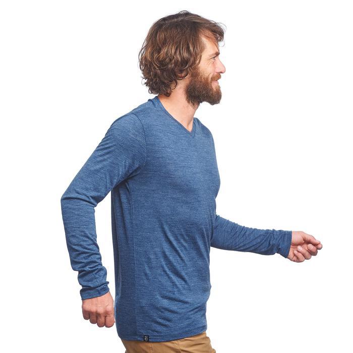 Tee-Shirt manches longues TRAVEL 500 WOOL Homme bleu
