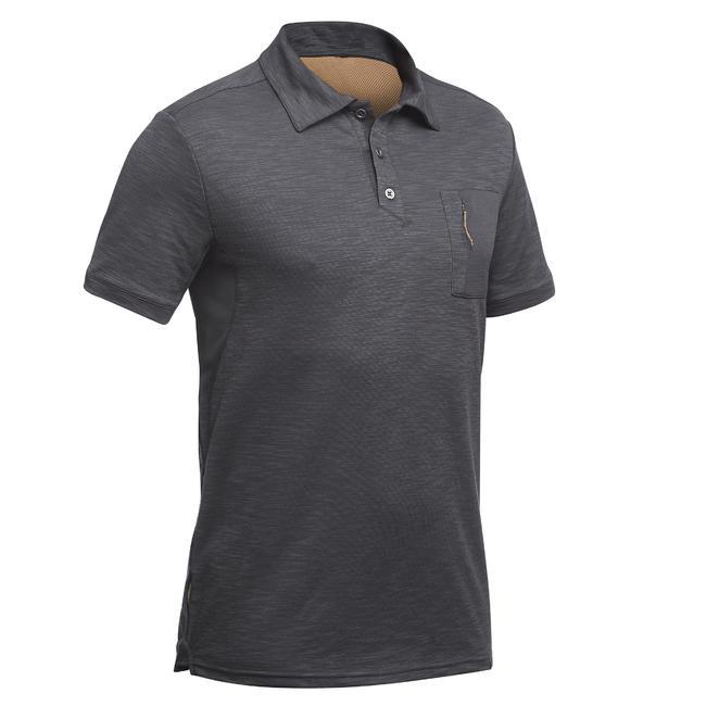 Men's Travel Short-Sleeved Polo T-Shirt Travel 100 - Grey