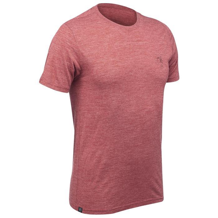 T-shirt voor backpacken heren Travel 500 wool rood