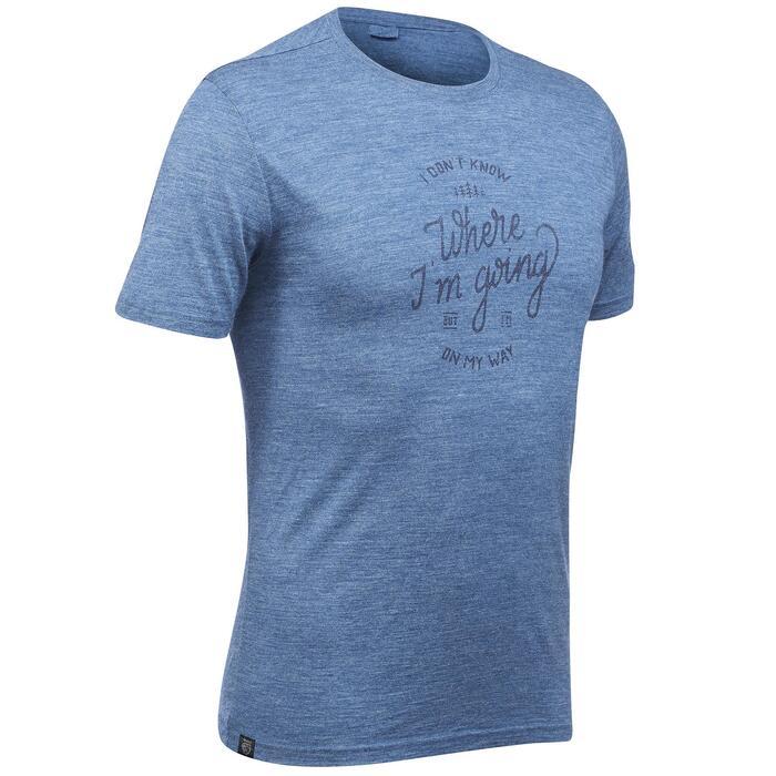 T-shirt voor backpacken heren Travel 500 wool blauw