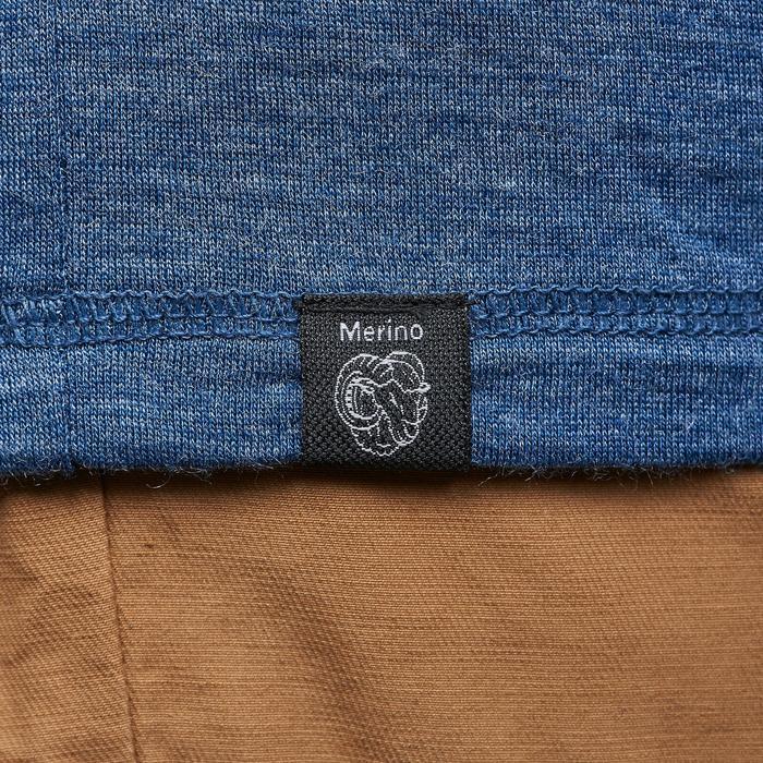 T-shirt met lange mouwen voor heren Travel 500 wol blauw