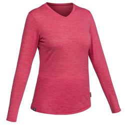 Tee-shirt manches longues trekking TRAVEL500 laine merinos femme rose