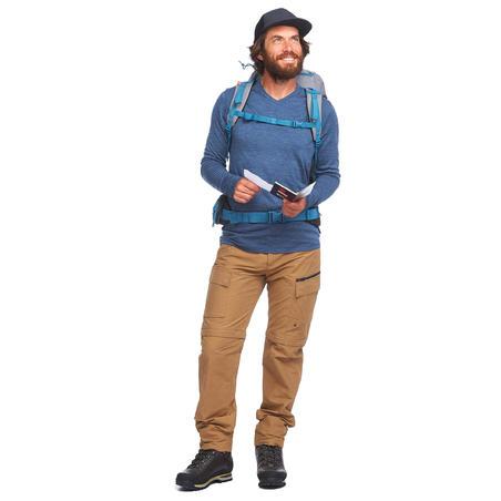 Men's long-sleeved travel trekking Merino wool T-shirt - TRAVEL 100 - blue