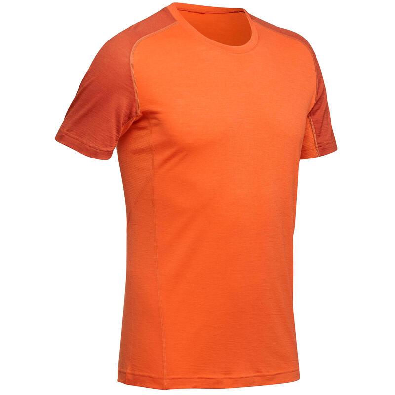 Pánské turistické merino tričko s krátkým rukávem TREK 500 oranžové