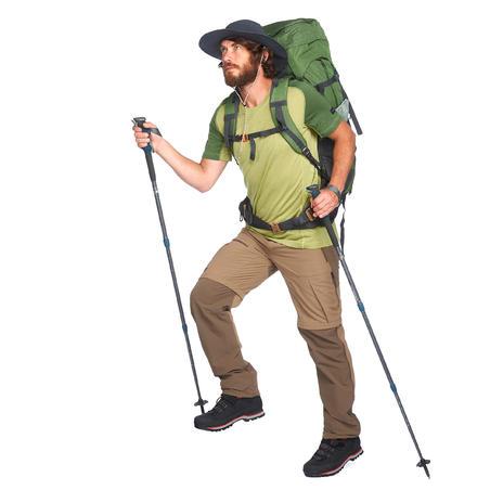 Men's brown convertible mountain trekking pants TREK500