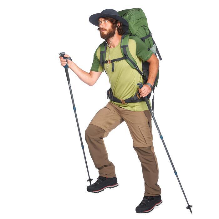 Broek voor bergtrekking heren Trek 500 afritsbaar bruin