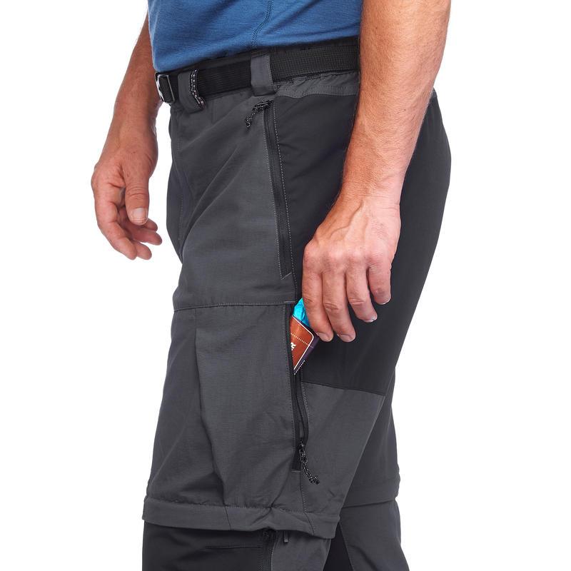 Men's Mountain Trekking convertible trousers - TREK500 - Dark Grey