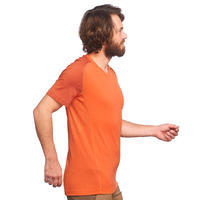 Men's TREK 500 short-sleeved mountain trekking merino T-shirt - Orange