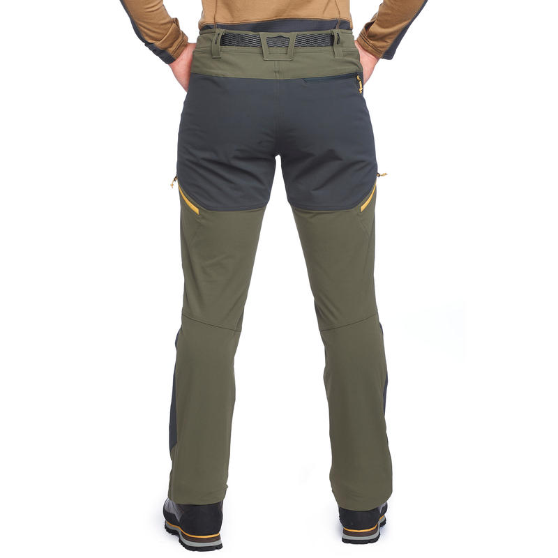 Men's khaki mountain trekking trousers TREK900