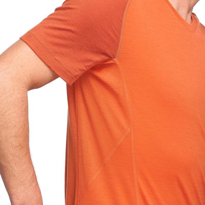 Herenshirt van merinowol met korte mouwen voor bergtrekking Trek 500 oranje