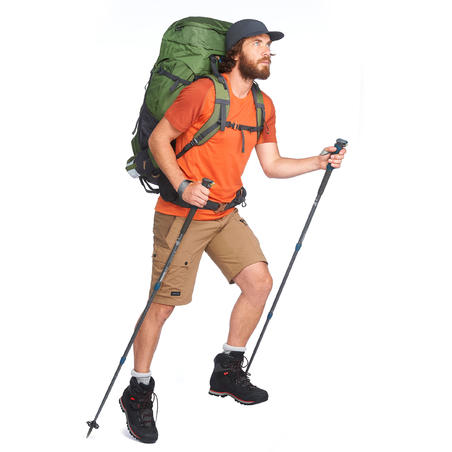 T-shirt merino mendaki gunung lengan pendek pria TREK 500 - Jingga