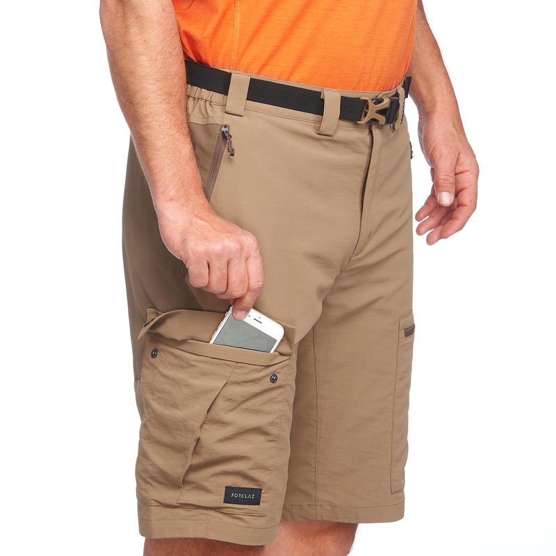 Men's brown mountain trekking shorts TREK500