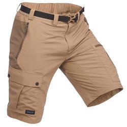 Men's Mountain Trekking Multi-Pocket Shorts - TREK 500 - Brown