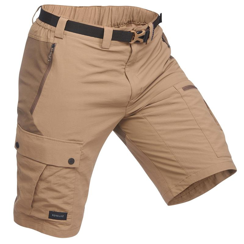 Men's Mountain Trekking Durable Shorts - TREK 500 Brown