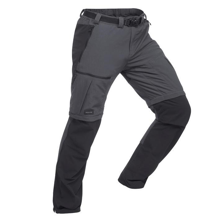Pantalon modulable de trek montagne - TREK 500 gris foncé homme