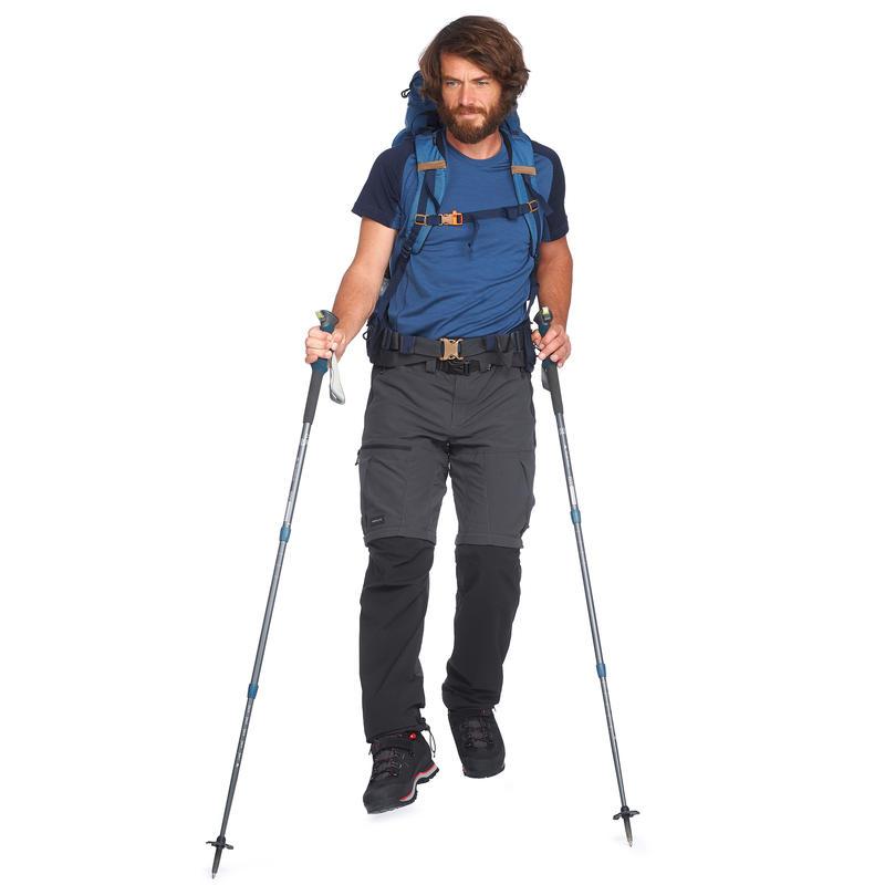 Pantalón transformable trekking montaña TREK 500 hombre gris oscuro