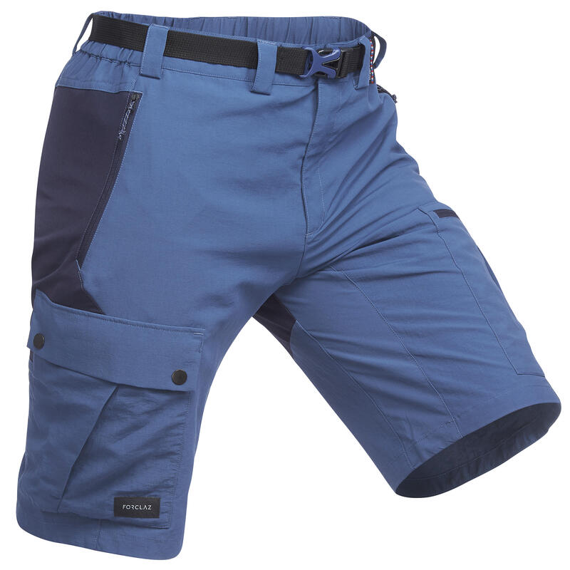 Men's Mountain Trekking Durable Shorts - TREK 500 - Blue