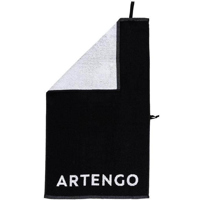 Handdoek voor tennis TS 100 zwart/wit