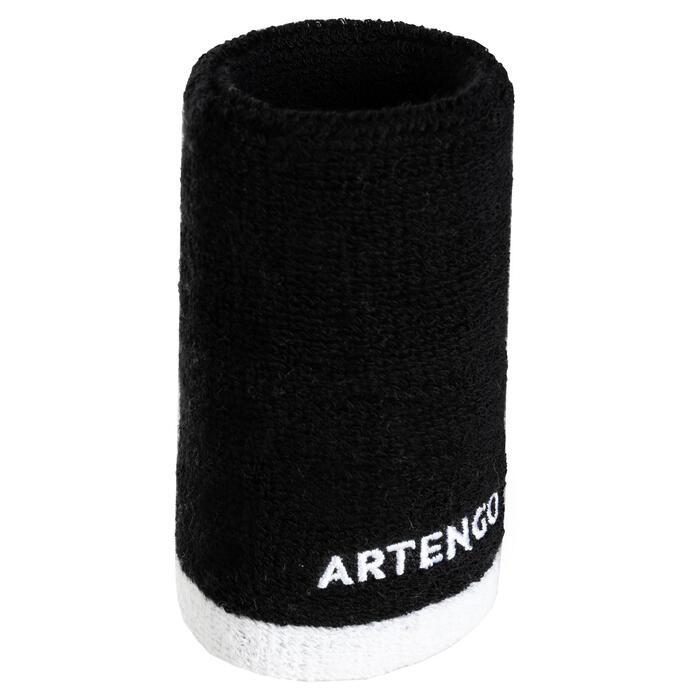 Brede absorberende polsband voor tennis, zwart/wit