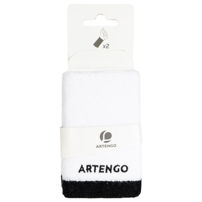Brede absorberende polsband voor tennis, wit/zwart