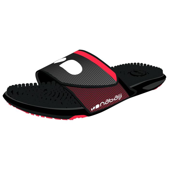 男款顆粒狀鞋底泳池拖鞋Slap 900-黑紅色
