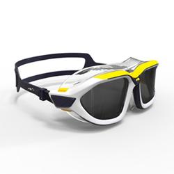 游泳面鏡500 ACTIVE ASIA,L號,藍色黃色,深色鏡片