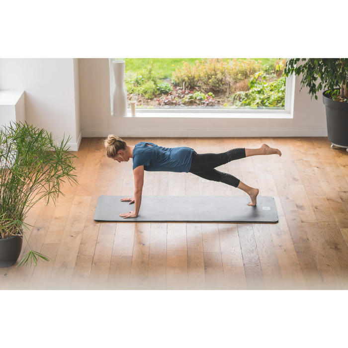 7/8-legging 560 pilates en lichte gym dames zwart met grijze print