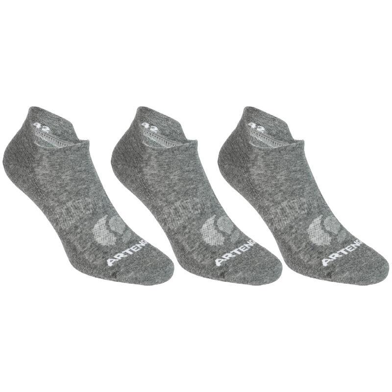 Nízké tenisové ponožky RS160 šedé 3 páry