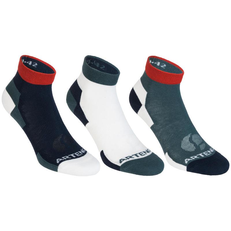 Gói ba đôi tất thể thao cổ lửng RS 160 - Xám/Trắng/Đỏ