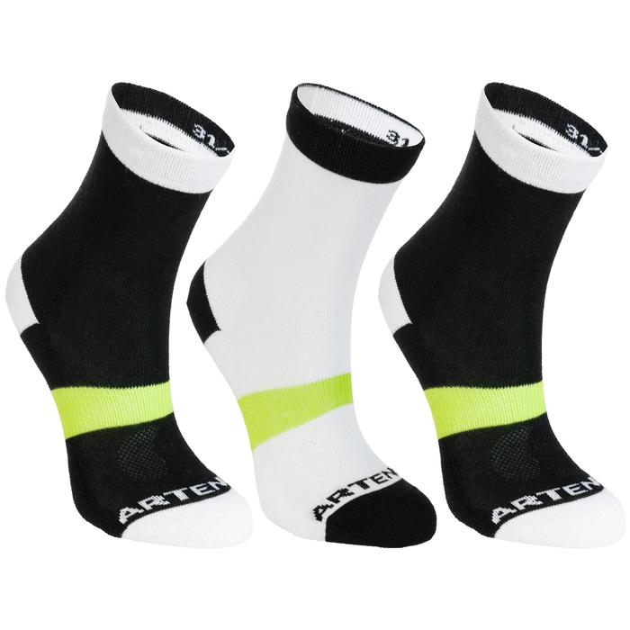 Tennissocken Sportsocken RS 160 High 3er Pack Kinder schwarz/weiß