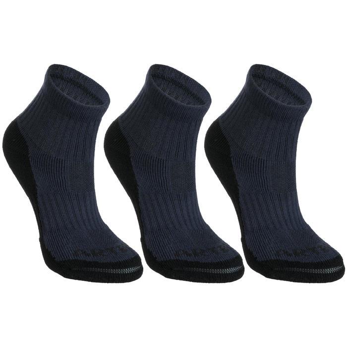 3雙入兒童款中筒網球襪RS 500-軍藍色