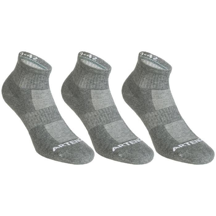 Halfhoge tennissokken Artengo RS 500 grijs set van 3 paar