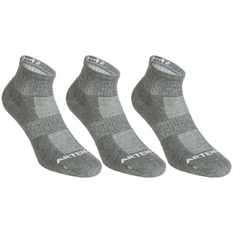 Tenis Çorabı - Orta Boy Konçlu - Unisex - 3 Çift - Gri - RS500