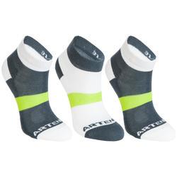 RS 160 Kids' Mid-Cut Sport Socks Tri-Pack - Grey/White/Yellow