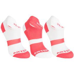 RS 160 Kids' Low Sports Socks Tri-Pack - White/Pink