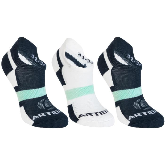 Tennissocken RS 160 Low Kinder 3er-Pack marineblau/weiß/grün
