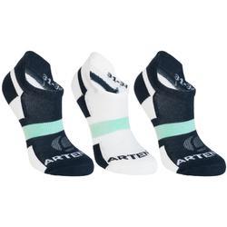 Tennissocken RS 160 Low Kinder 3er-Pack marineblau/weiß/grün