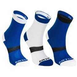 Hoge sportsokken kinderen Artengo RS 160 blauw wit zwart set van 3 paar