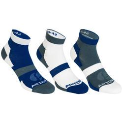 Halfhoge sportsokken voor kinderen Artengo RS 160 grijs/wit/blauw 3 paar