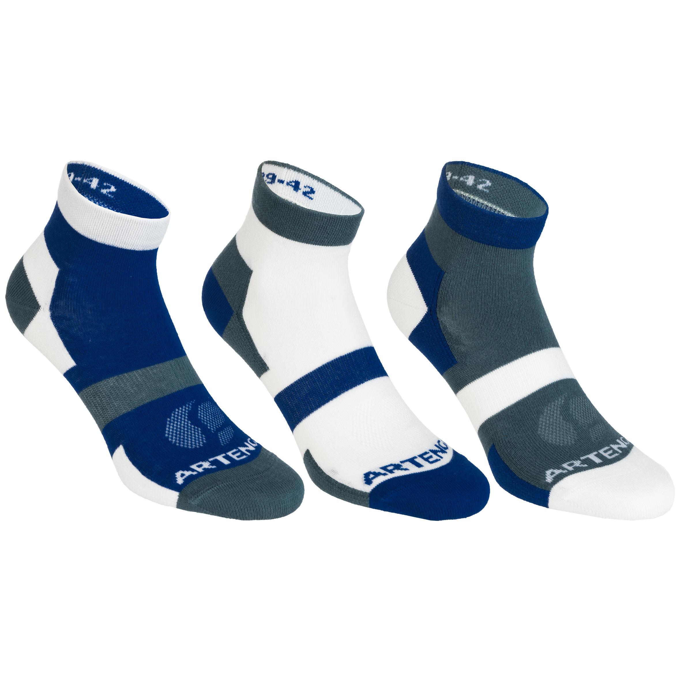 Tennissocken RS160 Mid 3er-Pack Erwachsene grau/weiß | Sportbekleidung > Funktionswäsche > Sportsocken | Baumwolle | Artengo