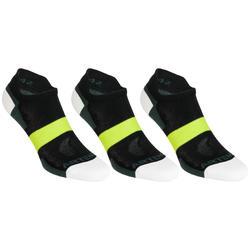 Lage sportsokken Artengo RS 160 zwart kaki geel 3 paar