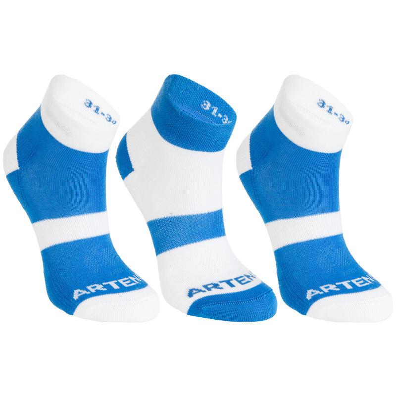 RS 160 Kids' Mid-Cut Sports Socks Tri-Pack - Blue/White