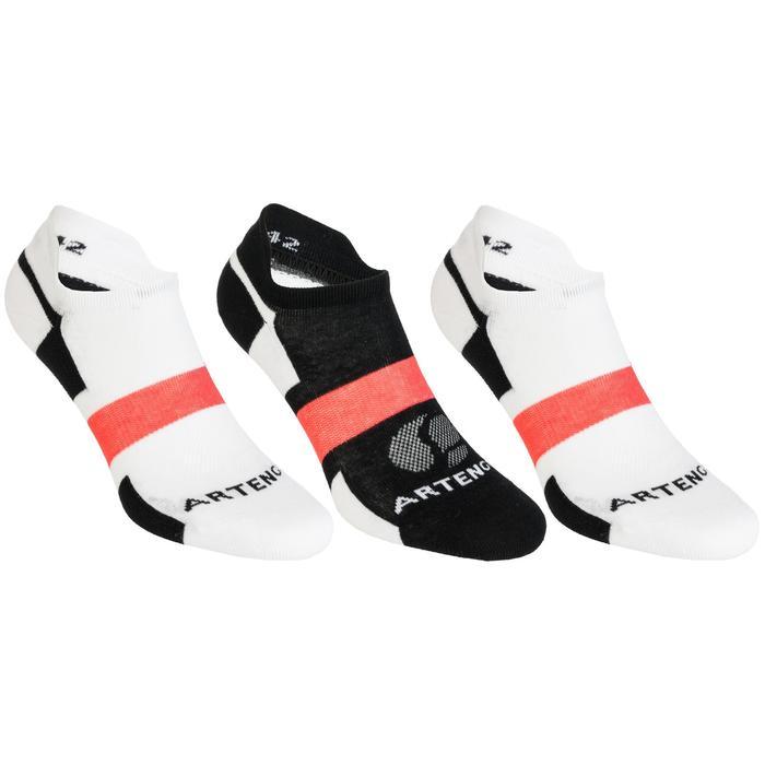Lage sportsokken Artengo RS 160 wit zwart roze 3 paar