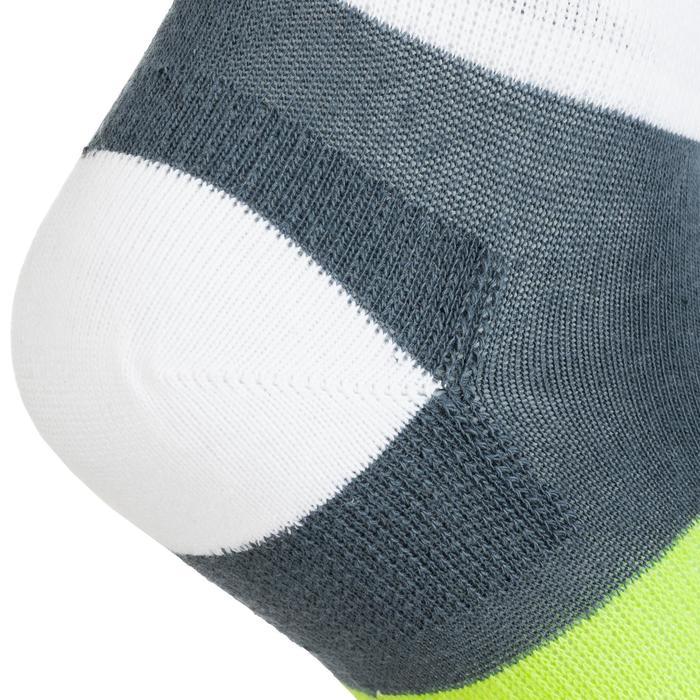 CHAUSSETTES DE SPORT ENFANT MI-HAUTES ARTENGO RS 160 GRIS BLANC JAUNE LOT DE 3