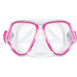 Duikbril met twee aparte glazen SCD 500 transparante mantel en roze rand